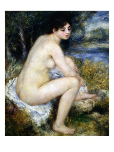 Woman Undresses Sitting in a Landscape - Pierre Auguste Renoir Painting