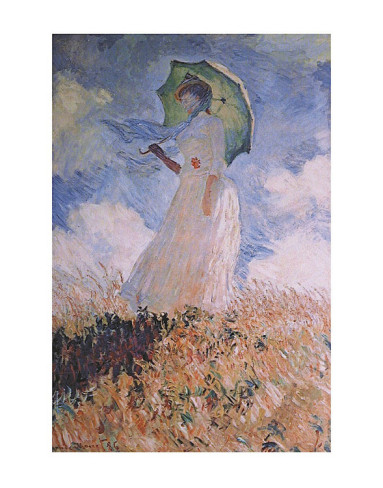 Woman With Parasol-Claude Monet Painting