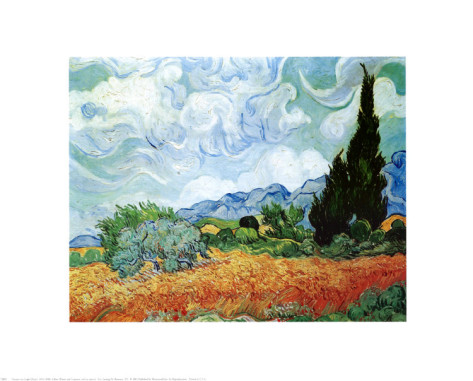 Yellow Wheat and Cypresses - Vincent Van Gogh Paintings