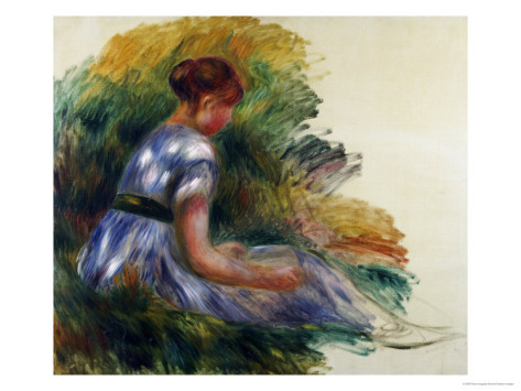Young Girl Sitting in the Grass - Pierre Auguste Renoir Painting