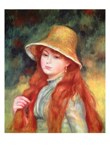 Young Girl with Long Hair - Pierre Auguste Renoir Painting