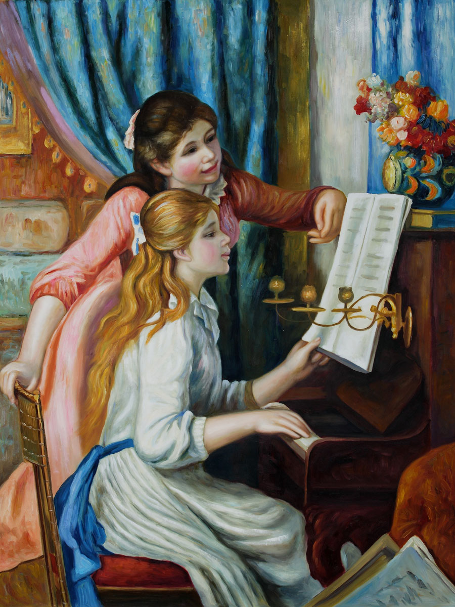 Young Girls at The Piano - Pierre Auguste Renoir Painting