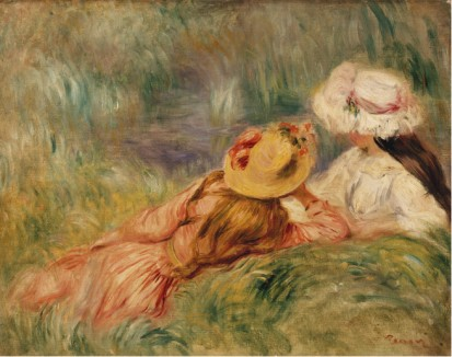 Young Girls by the Water C1893 - Pierre Auguste Renoir Painting