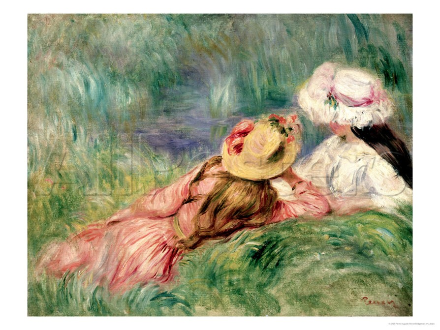 Young Girls on the River Bank - Pierre Auguste Renoir Painting