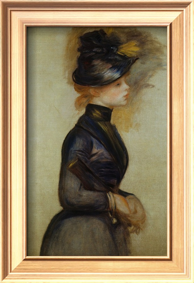 Young Woman in Blue Going to the Conservatory - Pierre Auguste Renoir Painting